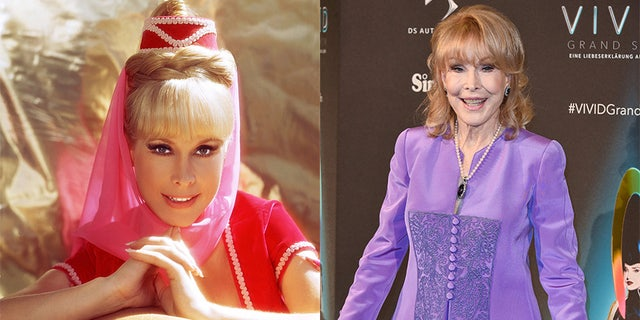 """Barbara Eden, star of """"I Dream of Jeannie,"""" was seen arriving at the VIVID Grand Show premiere at Friedrichstadt-Palast on October 11, 2018, in Berlin, Germany."""