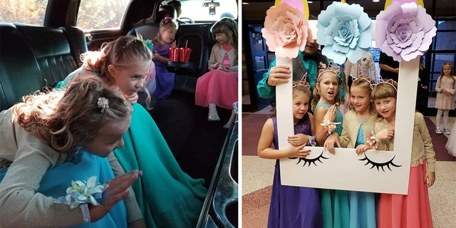 "Left photo: Girls play with the cool stuff in the limo. Right photo: ""Selfie pics"" at the daddy-daughter dance. Left to right Steve Culbert daughters Aliyah and Haley pose with Alvery and Alivia Reece."