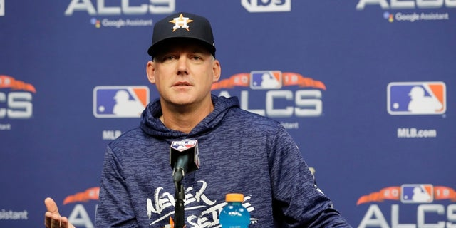 Houston Astros manager AJ Hinch speaks during a news conference on Monday, Oct. 15, 2018.