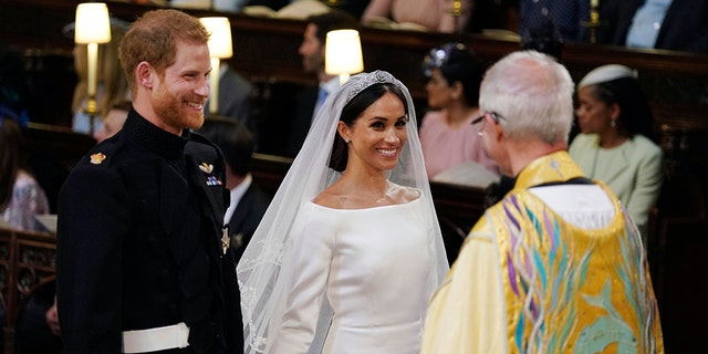 Prince Harry and Meghan Markle at their royal wedding in May 2018