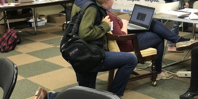 Democrat candidate Tom Malinowski at headquarters in Martinsville, NJ.