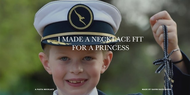 """Gavin Hazelwood, seen here on his """"I Made You a Necklace"""" website, arrived outside of a reception holding a sign reading just that, hoping to give Markle a gift."""