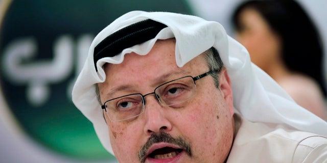 FILE - Saudi journalist Jamal Khashoggi speaks during a news conference in Manama, Bahrain.