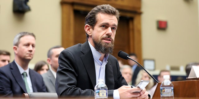 Twitter CEO Jack Dorsey testifying before the House Energy and Commerce Committee hearing on Twitter's algorithms and content monitoring in September 2018.