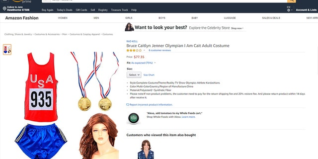 "Costume retailer Costume Agent stopped selling the ""I Am Cait"" costume, which came with an Olympic-style uniform and a red wig, though other third-party sellers (like the one pictured above) were selling the same costume online."
