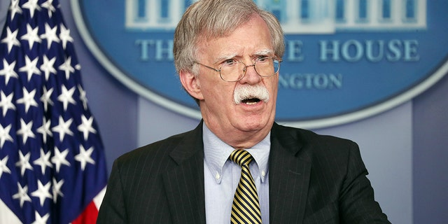 U.S. National Security Adviser John Bolton speaks to reporters as he announces that the U.S. will pull out of a treaty with Iran during a news conference in the White House briefing room in Washington earlier this month. (Reuters)