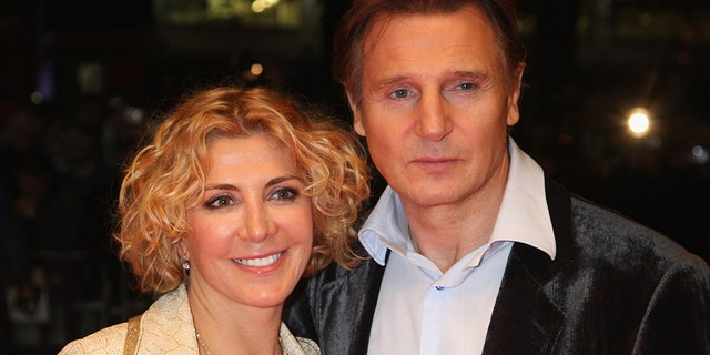 gardening Liam Neeson and Natasha Richardson.