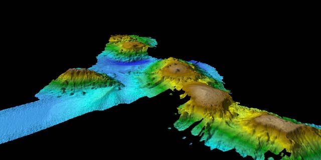 The seamounts were discovered off the coast of Tasmania
