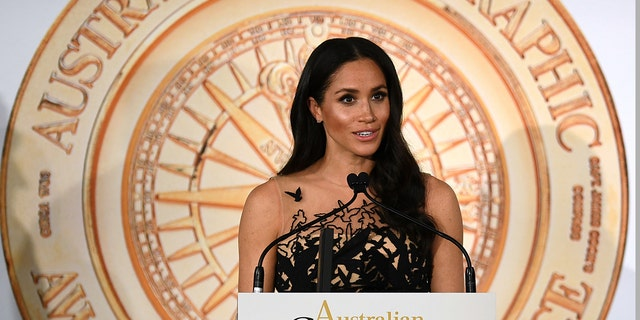 Meghan, the Duchess of Sussex, speaks as she presents a prize at the Australian Geographic Society Awards, in Sydney, Friday, Oct. 26, 2018. (Joel Carrett/Pool Photo via AP)