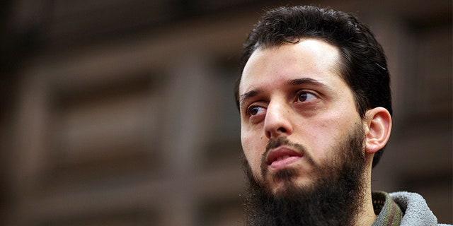 The Moroccan Mounir el-Motassadeq waits before his trial before a court in Hamburg