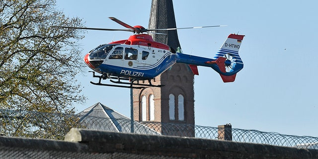 A helicopter carrying Mounir el-Motassadeq takes off from the prison in Hamburg.