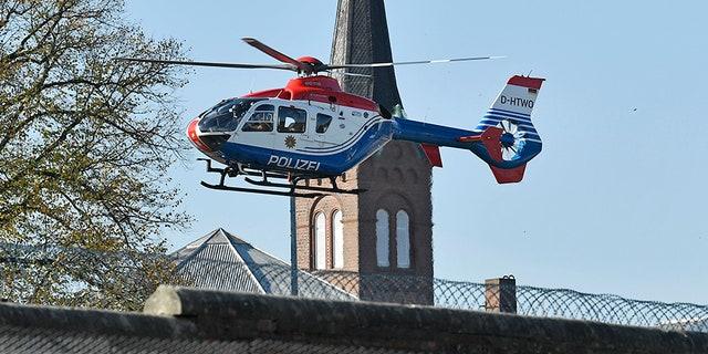 A helicopter carrying Mounir el-Motassadeq leaves prison in Hamburg.