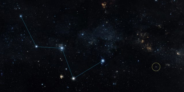 """Sky map shows the location of the star HD 219134 (circle), just off the """"W"""" shape of the constellation Cassiopeia. (NASA/JPL-Caltech/DSS)"""