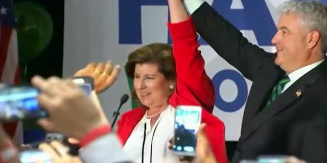 Karen Handel celebrates her narrow victory over Democratic opponent Jon Ossoff in a June 2017 special election.