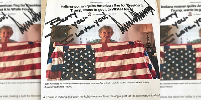 A handwritten note from President Trump to Betty Alexander about the American flag quilt she made for him.