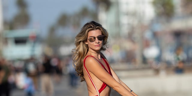 Model Rachel McCord stunned photographers during a photoshoot for Voir Eyewear in Los Angeles.