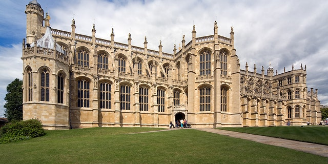 St George's Chapel, the medieval chapel inside of Windsor Castle where Eugenie will be married on Friday.