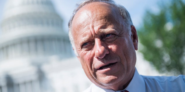 Rep. Steve King, R-Iowa, attends a rally with Angel Families on the East Front of the Capitol, to highlight crimes committed by undocumented immigrants in the U.S., on September 7, 2018. (Photo By Tom Williams/CQ Roll Call)