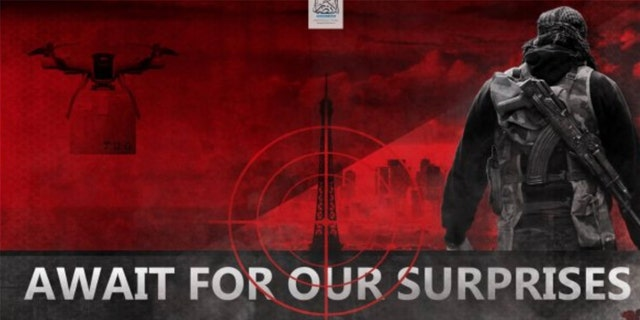 The red and black poster shows a drone carrying a sizeable object while flying next to the Eiffel Tower, which is framed in crosshairs.