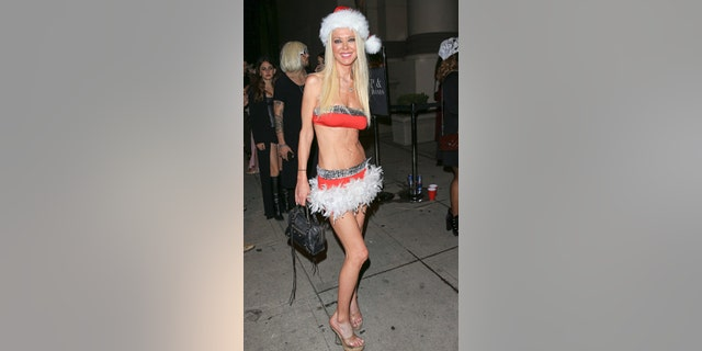 Tara Reid dons a Santa Claus costume while out in Hollywood on Oct. 30, 2016 in Los Angeles, Calif. (Photo by BG001/Bauer-Griffin/GC Images)