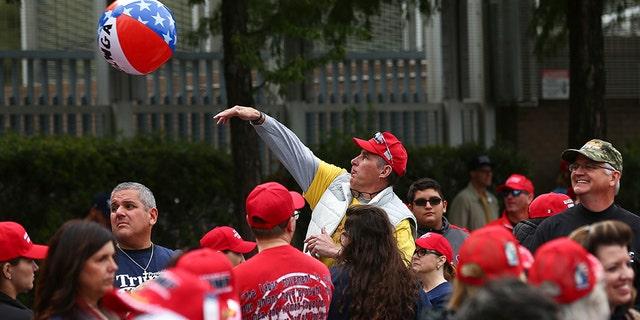 Fans celebrate at the Toyota Center on Monday in Houston. (Godofredo A. Vasquez/Houston Chronicle via AP)