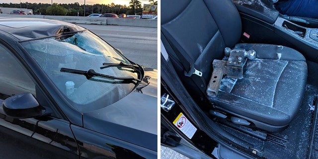 An unsecured towhitch smashed through adriver's windshield Monday morning in Texas.