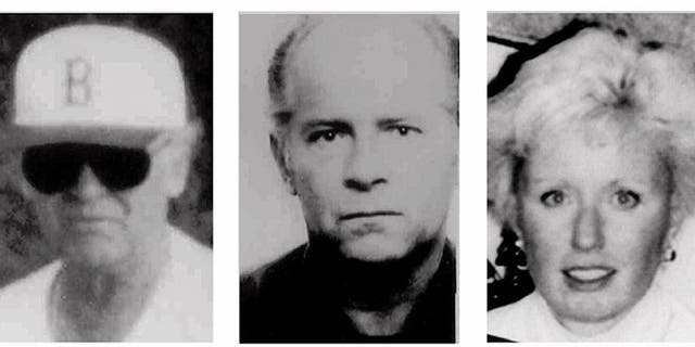 "The photos left and center are FBI handout photos of fugitive Massachusetts mobster James ""Whitey"" Bulger, taken in the 1980s. At right is an FBI photo of Bulger's girlfriend, Catherine Greig, who travels with the former gangster."