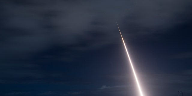 Launch of the target missile from the Pacific Missile Range Facility at Kauai, Hawaii. (U.S. Department of Defense Missile Defense Agency)