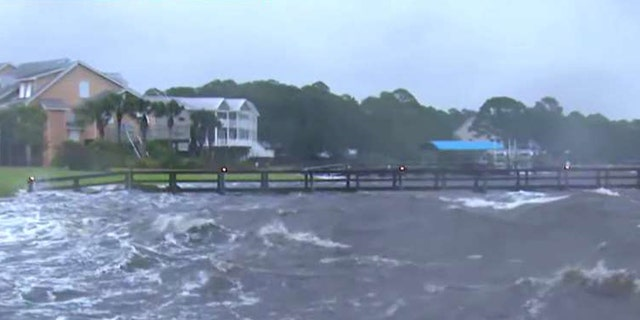 Water is rising in Alligator Point, Fla. ahead of Hurricane Michael's arrival.