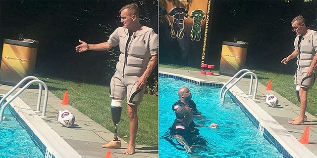 Terry Nelson, pictured left and right, wants to set U.S. veterans up with his hydro buoyancy suits and help them build their own rehabilitation and fitness training businesses