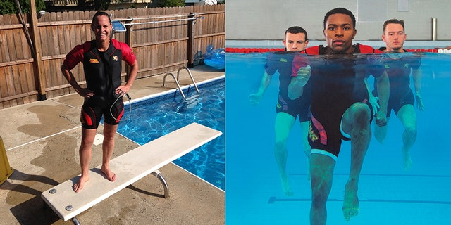 Christie Pearce Rampone (left), the former U.S. women's soccer team captain, in one of the suits; (right) the suit in action in the water