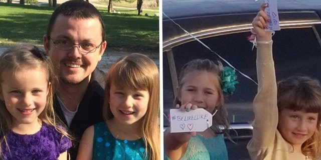 "Left photo: Avery and Alivia Reece with their late dad, Luke. Right photo: Balloon release before they entered the dance. Haley Culbert and Alivia Reece show their ""#Be Like Luke"" tags, a proud and emotional moment said Mr. Culbert"
