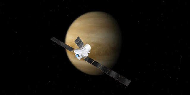 An artist's depiction of BepiColombo during one of its two Venus flybys en route to Mercury.