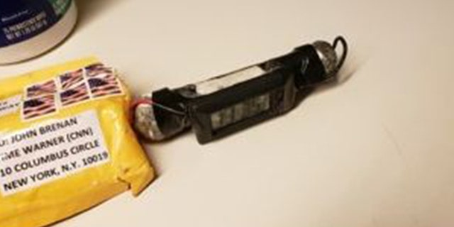The photo of the explosive device addressed to John Brennan at the Time Warner Center.