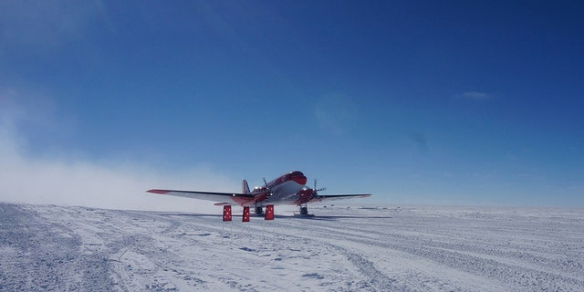 China's first fixed-wing aircraft for polar flight Snow Eagle 601 taxies after its landing on Jan. 9, 2017 at the airport of Kunlun Station in Antarctica.