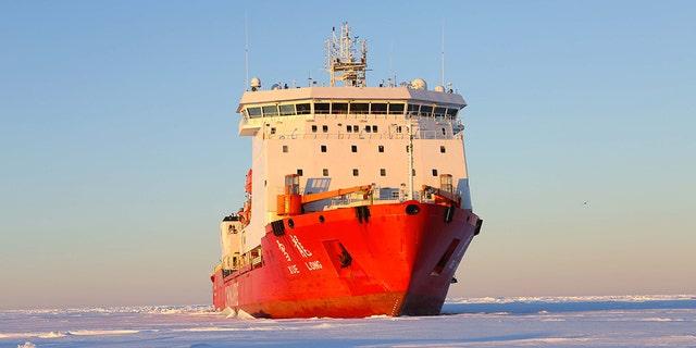 China's icebreaker Xuelong is seen in Antarctic ice zone, Nov. 29, 2016. Xinhua/Rong Qihan via Getty Images