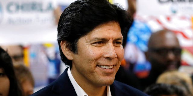 FILE -- In this Sept. 25, 2018 file photo state Sen. Kevin de Leon, D-Los Angeles, smiles during a campaign stop at CHIRLA Action Fund headquarters.