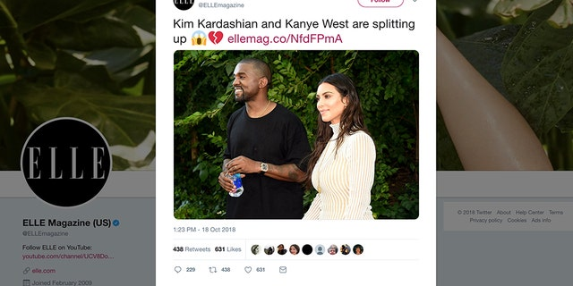 Elle faces backlash over false Kim Kardashian and Kanye West breakup tweet