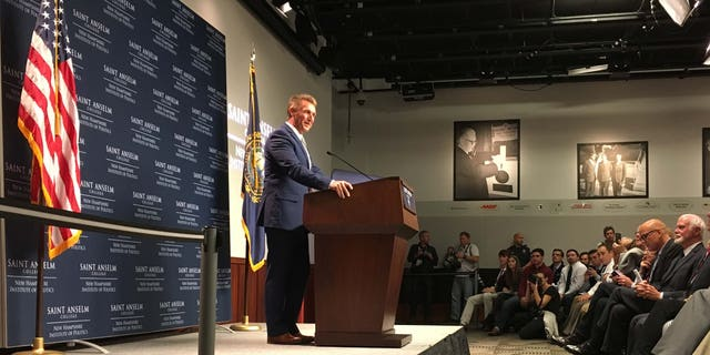 Sen. Jeff Flake talks to New Hampshire voters, while downplaying the possibility of a Trump primary challenge, for now.