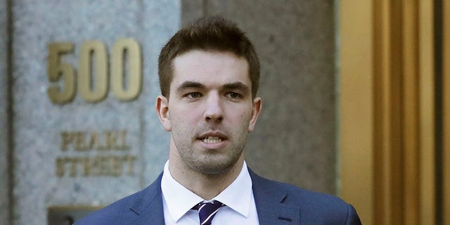 "Billy McFarland, the promoter of the failed Fyre Festival in the Bahamas, leaves federal court after pleading guilty to wire fraud charges in New York. A federal judge has given McFarland a six-year prison term. McFarland was sentenced Thursday, Oct. 11 in Manhattan federal court. Judge Naomi Reice Buchwald called him a ""serial fraudster."""