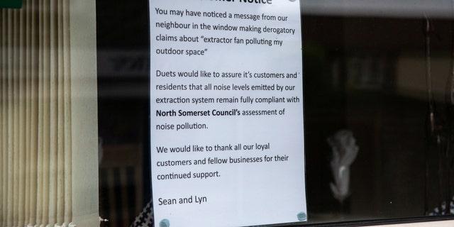 Sign in Duets window in Weston-super-Mare.