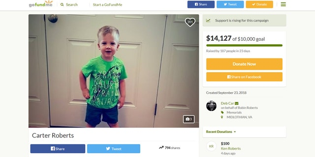 Carter Roberts died on Sept. 22, about 2.5 years after being diagnosed with AFM.