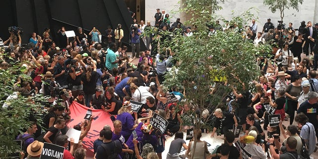 """By Thursday afternoon, Capitol Police began arresting hundreds of protesters inside the Hart Senate Office Building who raised their fists and loudly started chanting """"hey hey ho ho Kavanaugh has got to go."""" (NuNu Japardize/Fox News)"""