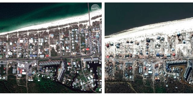 Satellite images showed part of Mexico Beach, Fla., before and after Hurricane Michael made landfall.