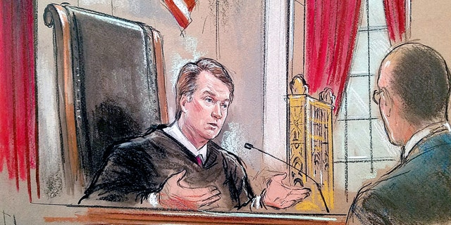 Justice Brett Kavanaugh speaks in the courtroom, in this sketch.