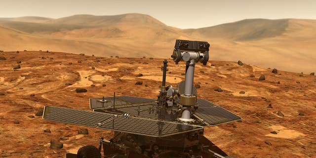 Artist's illustration of NASA's Opportunity rover on the surface of Mars.