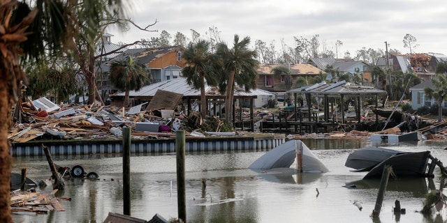 Debris scatters an area in the aftermath of Hurricane Michael in Mexico Beach, Fla., Thursday, Oct. 11, 2018.