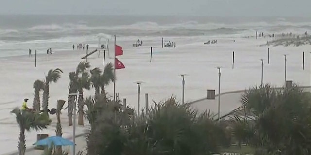 Strong surf is impacting beaches in Gulf Shores, Ala. ahead of Hurricane Michael.