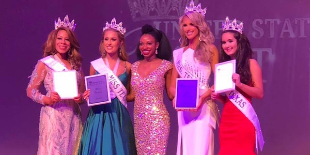 K-9 officer Shannon Dresser, 30, second from right, was crowned Mrs. Texas on Sunday.