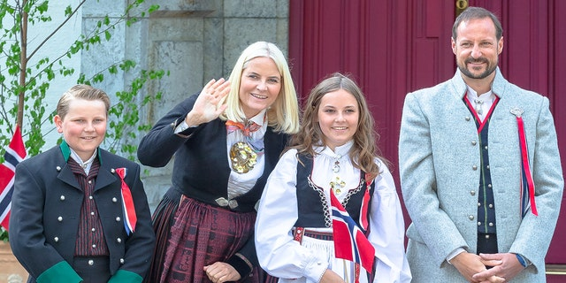Prince Sverre Magnus of Norway, Princess Mette Marit of Norway and Princess Ingrid Alexandra of Norway, Prince Haakon Magnus of Norway outside their home at Skaugum Farm in Asker during Norway's National Day on May 17, 2018 in Oslo, Norway. (Photo by Nigel Waldron/WireImage)